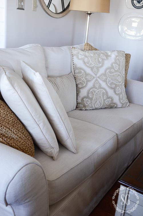 WINTER IN THE FAMILY ROOM-pillows-sofa-stonegableblog