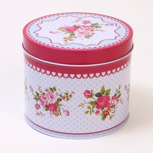 Small Pink Flowery Tea Tin