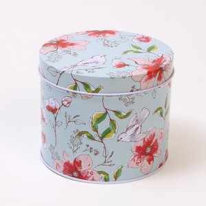 Small Tea Tin with Birds & Flowers