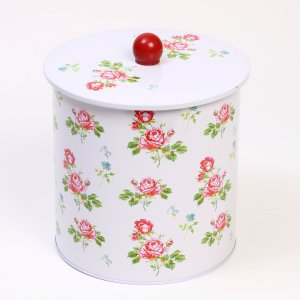 White Floral Biscuit Barrel