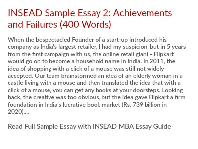 Insead MBA Essay 2 Tips Describe the achievement of which you are