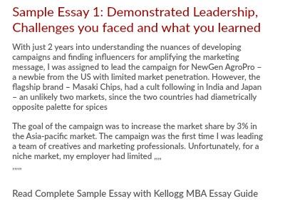 Kellogg MBA Leadership  Teamwork Essay1 Tips - sample essays on leadership