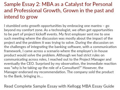 Kellogg MBA Professional and Personal Growth Essay 2 Tips