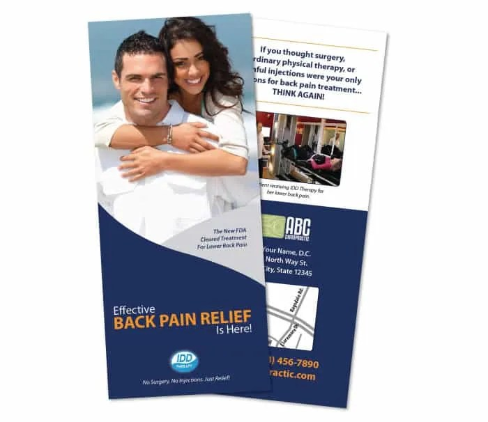 1110 Brochure - Back Pain (IDD Therapy) JustUs Chiropractic Marketing - marketing brochure
