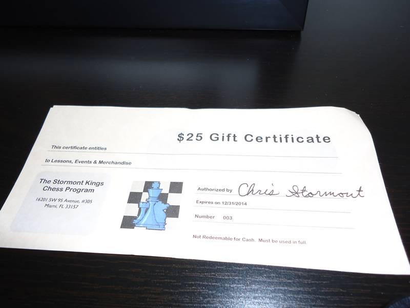 Gift Certificates - The Stormont Kings Chess Program