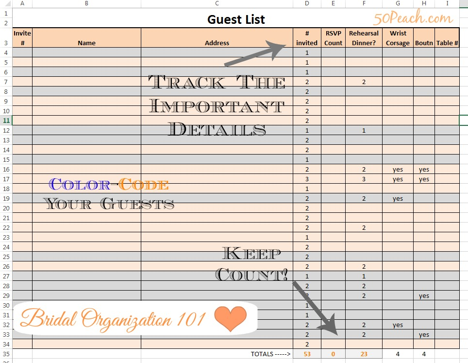 Easy Wedding Organization 4 Fool-Proof Tips from a Fab Bridal Blogger - free wedding guest list template