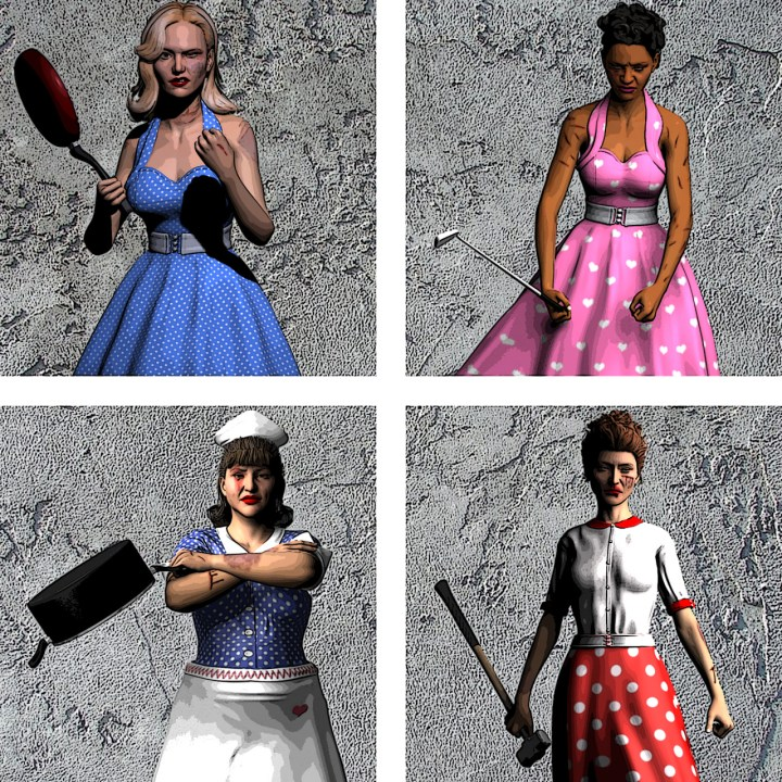 Clockwise, from top left: Peggy Whitman, Betty Smith, Doris Baker, Sylvia Hornberger