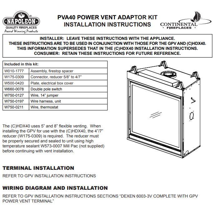 Napoleon PVAL Power Vent Adaptor Kit
