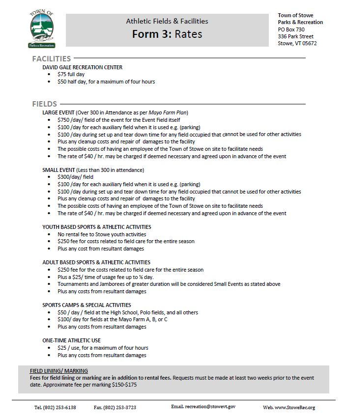 Field  Facility Rental - Stowe Parks and Recreation - rental assistance form