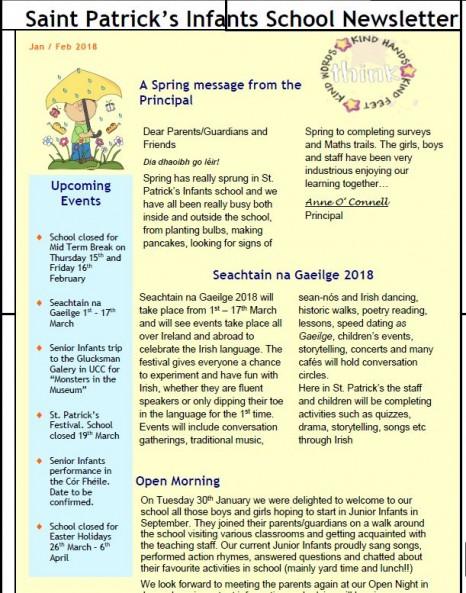 School Newsletter \u2013 St Patricks Infants National School