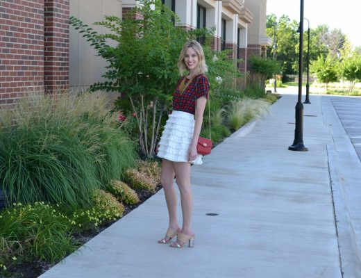 maude tassel skirt, plaid shirt, mules, gold bib necklace