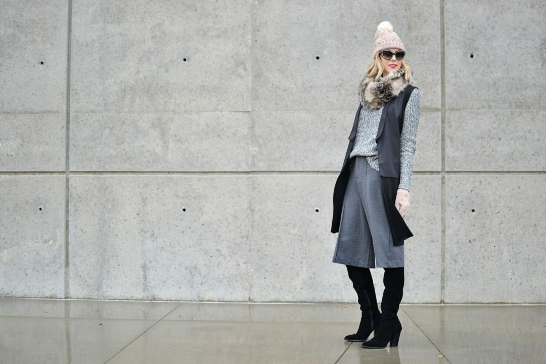 Old Navy sweater, culottes, and accessories, OTK boots, vest, Prada sunglasses