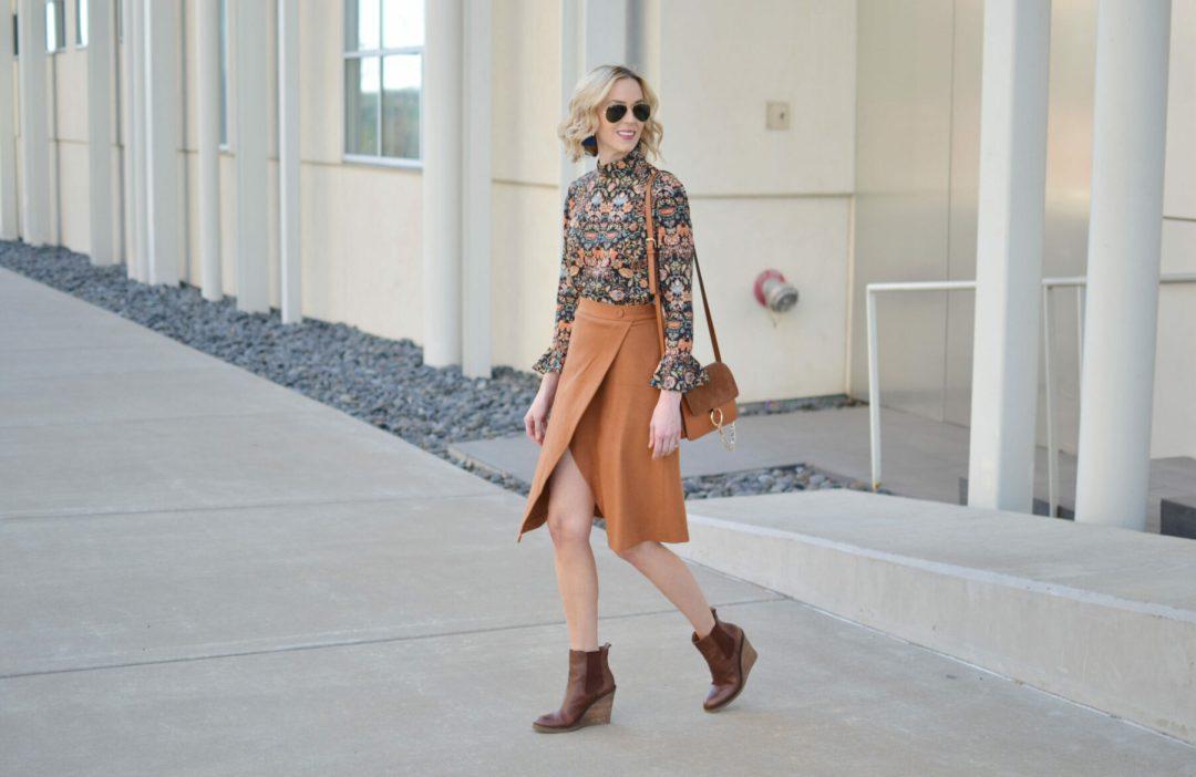 bell sleeve top, slit skirt, wedge boots, chloe dupe bag