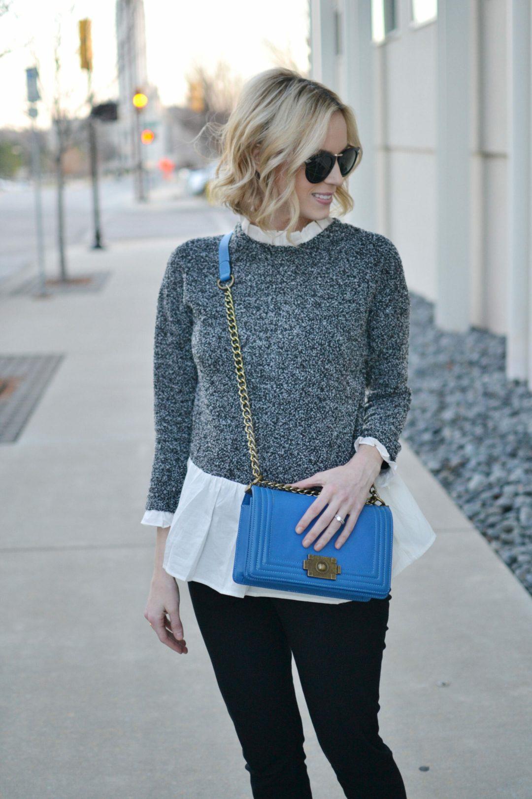 om om shoes, black slit front ants, grey layered blouse, blue bag