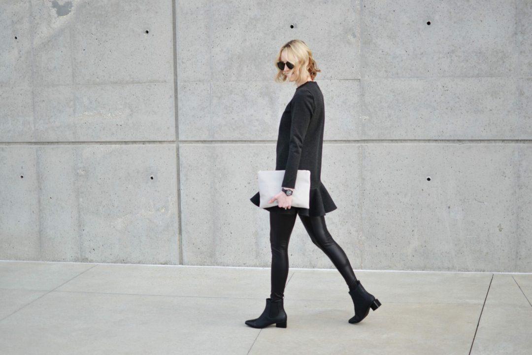 wink drop hem dress, leather leggings, black boots