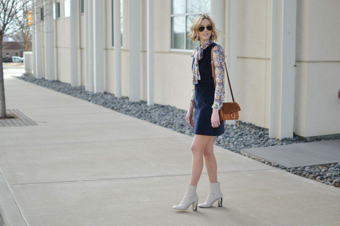velvet navy jumper, floral bow blouse, chloe dupe bag, l'eggs hose