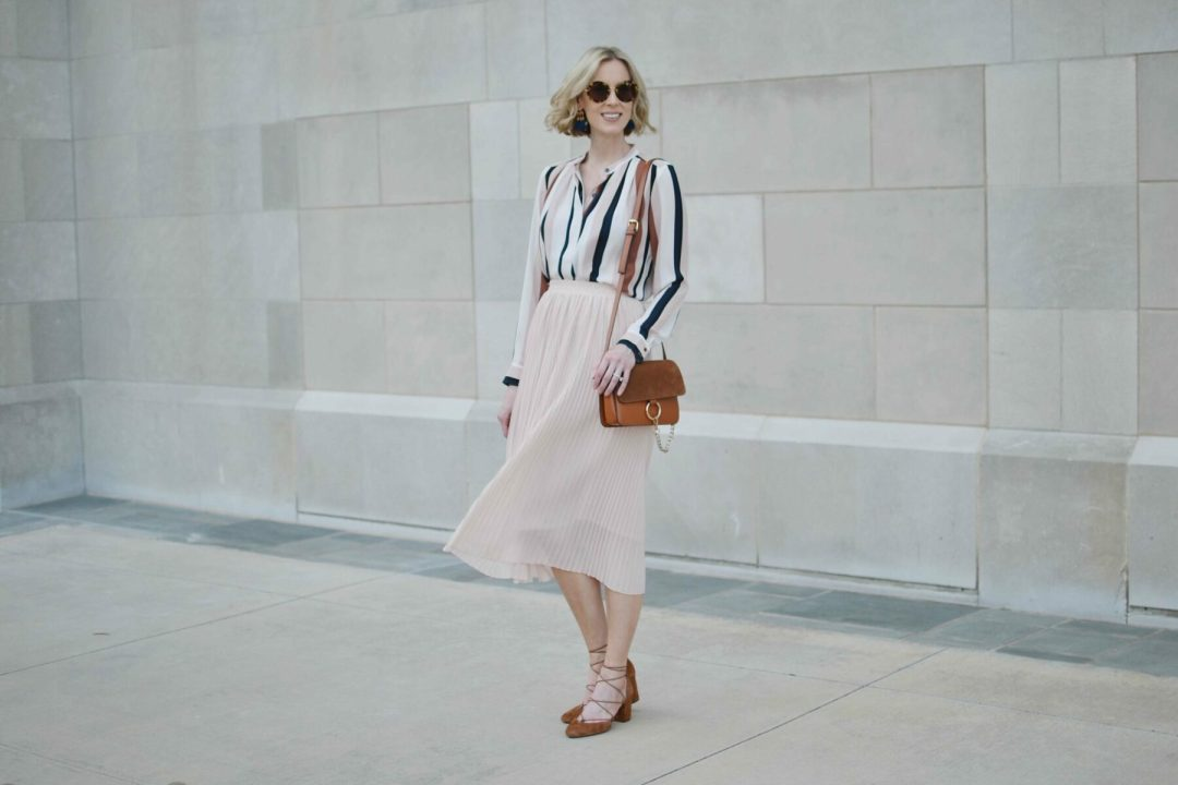 striped blouse, blush skirt 1