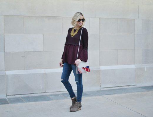 dansko-boot-distressed-jeans-pink-blush-maternity-top-chloe-dupe-bag