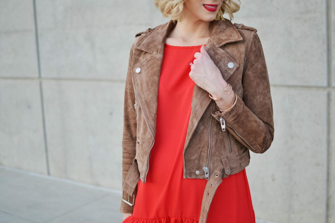 red-dress-tan-suede-moto-jacket-leopard-booties-details-for-ig