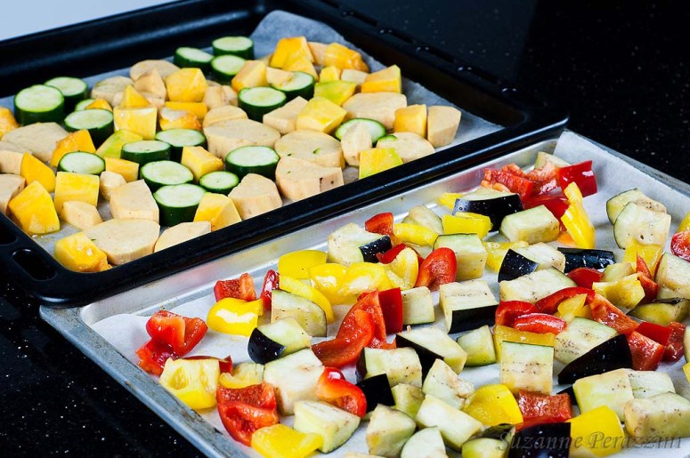 Roasted Vegetables & Zucchini Cornbread - a gluten-free & low FODMAP recipe