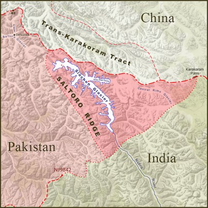 Under the Karachi agreement the border extended to a point known as NJ9842 'and thence north to the glaciers'.
