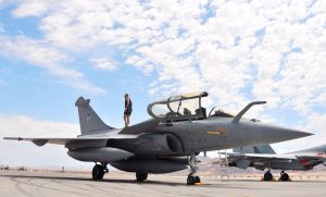 "A crewman performs a post-flight check on a Armee de l'Air (French Air Force) Rafale B fighter at Nellis Air Force Base, Nevada (USA), on 7 August 2008. The French Rafale was from Escadre de Chasse 2/7 ""Provence"" (Fighter Squadron 2/7) from St. Dizier air base, Champagne-Ardennes region, France. The ""Red Flag 08-4"" exercise was an two-week exercise that pits forces in a realistic aerial ""battlefield"" to hone the fighting skills of American and allied airmen. Republic of Korea, Indian, Navy and Air Force teams were joining the French Air Force in Red Flag 08-4."