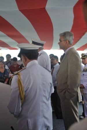 Defense Secretary, Shashi Kant Sharma listens as Admiral Verma addresses the media.