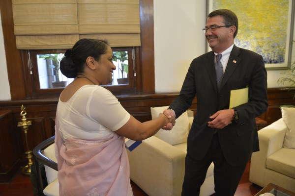 Indian Foreign Secretary Sujatha Singh with US Deputy Defense Secretary Ashton Carter in New Delhi on Tuesday | Photo: US Department of Defense