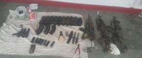 Arms and ammunition recovered from terrorists killed at the Indian Air Force base at Pathankot.