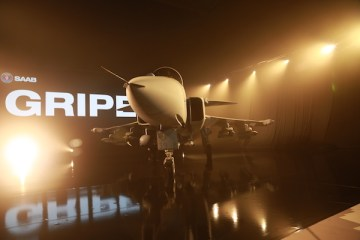 The Gripen E unveiled at Linköping in Sweden last month | Photo: Saurabh Joshi/StratPost