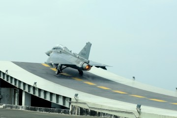 LCA Navy taking off from the Shore Based Test Facility (SBTF) at INS Hansa | Photo: DRDO