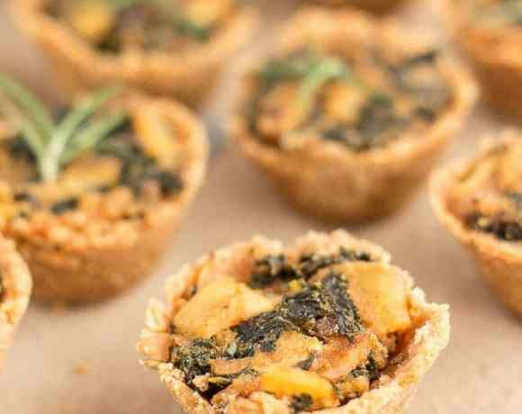 Rosemary Cracker Bites with Goat Cheese, Kale and Potatoes