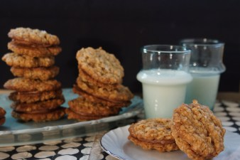 Salted-Espresso Oatmeal Sandwich Cookies with Nutella Cream