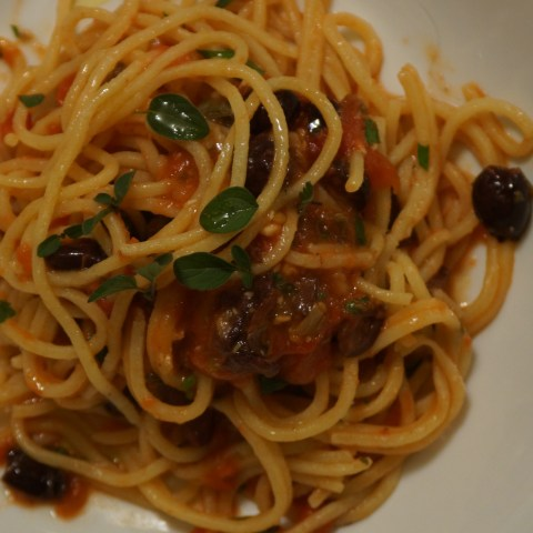 Spaghetti with Tomato, White Anchovy & Olives