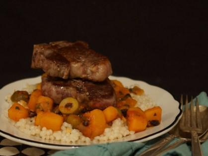 Lamb Chops with Sweet & Sour Squash Ragu