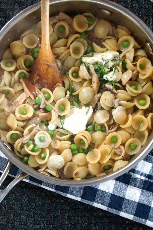 Orecchiette Pasta with Shiitake Mushrooms & Peas