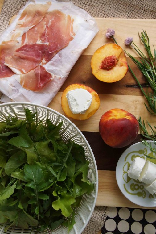 Peaches, Prosciutto, Chevre & Salad