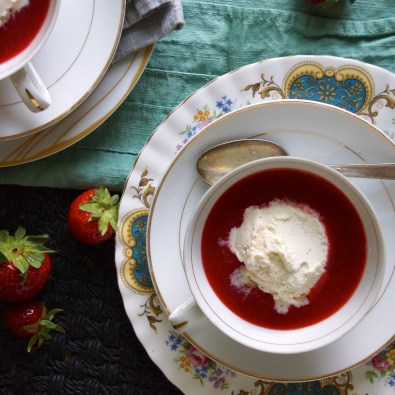 Strawberry Soup with Vanilla Ice Cream