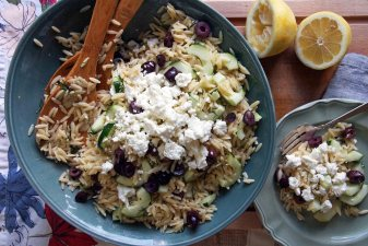 Lemon-Dill Orzo Pasta Salad with Feta & Olives