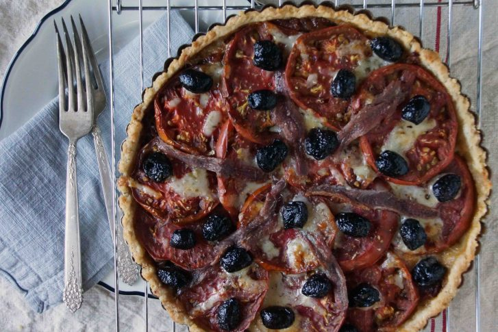 Tomato Tart with Caramelized Onions, Olives & Fontina