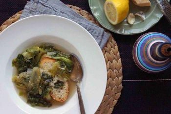Escarole Soup with Lemon, Anchovies & Garlic