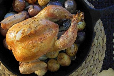 Roasted Chicken & New Potatoes with Apple Cider Pan Sauce