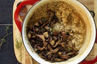 Stirring Mushrooms into Risotto