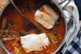 Poached Cod with Tomatoes and Escarole
