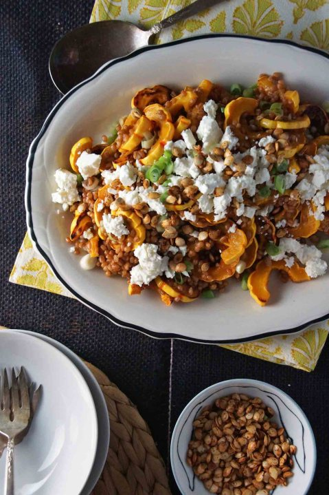 Roasted Delicata Squash and Wheat Berry Salad with Feta