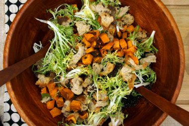 Sweet Potato & Black Lentil Panzanella Salad