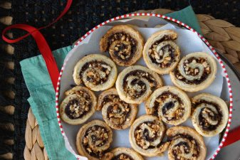 White Chocolate, Espresso, and Hazelnut Pinwheel Cookies