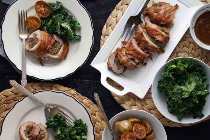 Pancetta-Wrapped Pork Tenderloin with Date Jam