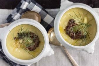 Potato, Fennel & Leek Soup with Olive Tapenade