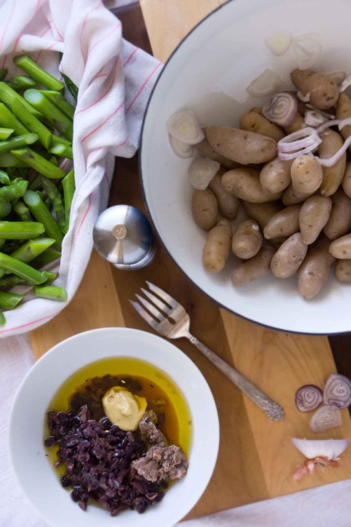 Potato & Asparagus Salad with Black Olive Vinaigrette